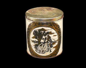 Early mid-century biscuit tin for tea caddy or canister. Lithographed romance scene detailed scrollwork.  Likely made in England.