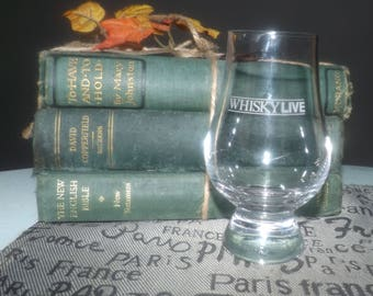 Vintage (1990) Whisky Live Canada! event made by Glencairn Crystal Scotland.  The Glencairn Glass shooter glass. Etched-glass type.