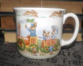 Vintage (1980s) Royal Doulton Bunnykins  Barbara Vernon Bunny Town, Bunnies to the Train Station baby | child | toddler cup | mug.