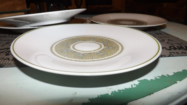 Vintage or side plate blue floral center Green green bands. dessert 1970s Noritake Nitto Constantine pattern 2012 bread-and-butter