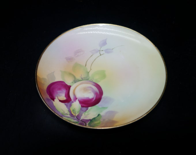 Antique (1901-1909) hand-painted Nippon plate. Ripened plums on the vine. Flaw (see below)