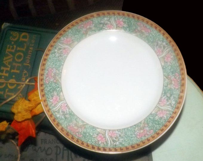 Set of four vintage (1980s) Grindley by Kopin salad or side plates. Pink lotus flowers made in Indonesia.