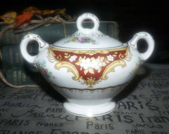 Vintage (1930s) Empire Porcelain Co York Maroon hand-decorated covered sugar bowl made in England.