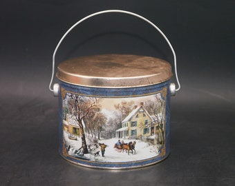 Vintage (1980s) Currier & Ives American Homestead Winter metal handled bucket | tin made in the USA.