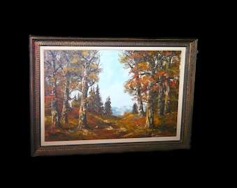 Original oil on canvas framed landscape painting. Forest in Fall mountains in background. Carved wood frame. Signed Farina.