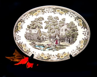 Mid-century Royal China Fairoaks | Fair Oaks oval vegetable platter made in the USA.