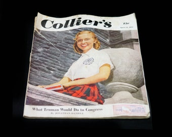 Mid-century (April 14, 1951) Colliers Magazine published USA. What Truman Would Do to Congress, Diamond Rhubarbs. Vintage ads