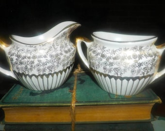 Mid-century Gibsons W802 hand-decorated gold floral chintz creamer and open sugar bowl set made in England.