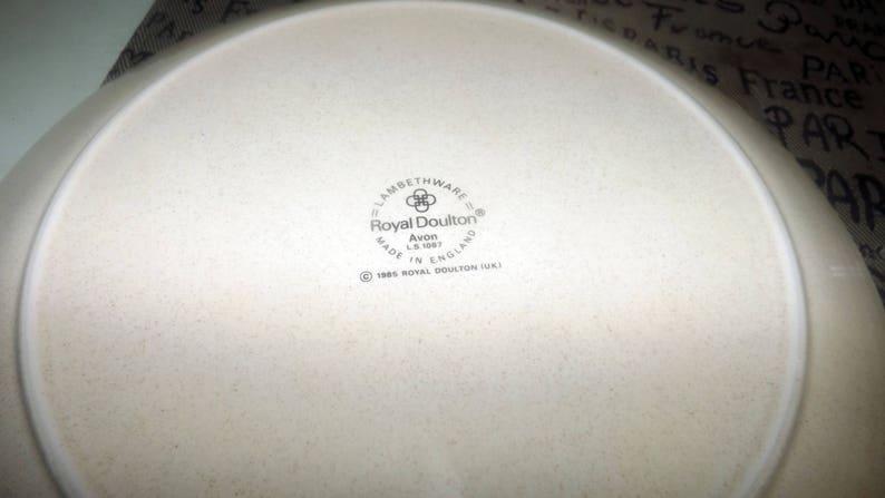 gray white florals Lambethware stoneware. 1985 Peach side plate Royal Doulton Avon LS1067 stoneware salad Vintage