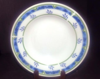 Royal Heritage RHR1 rimmed soup bowl. Blue leaves, blue sponge band, green triangles. Minor flaws (see below).