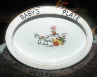 Antique (1918) Paragon Star early Mallet | Soper-like Baby's Plate | cereal, porridge bowl. Goose in cart, Market Day. HEAVY!