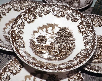 Mid-century (1950s) Barratts Elizabethan Brown cereal, soup or salad bowl. Brown transferware farm scene with cows. cottage.