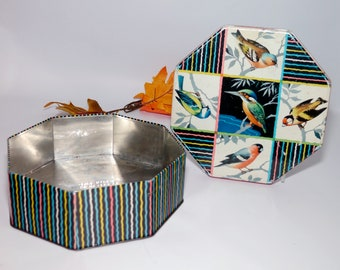 Mid-century Harry Vincent Bluebird Toffees | Parkes Classic Confectionery tin featuring songbirds and multicolor stripes. Made in England.