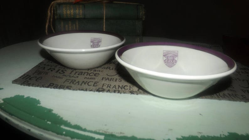 Lion/'s Club Lodge Emblem in purple Vintage purple and gold bands 1960s Ridgway Hotelware fruit nappie or dessert bowl Made in England