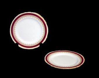 Vintage (1960s) John Aynsley Wendover Maroon bread, dessert, side plate made in England. Sold individually.