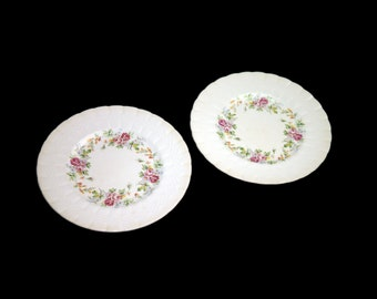 Pair of vintage (1930s) Simpsons Potters Finsbury hand-decorated salad or side plates made in England. Flaws (see below).