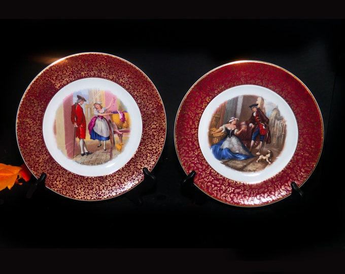 Pair of early mid-century Wood & Sons Cries of London decorative cabinet wall display plates. Cherry Seller, Oranges seller. Maroon rim.