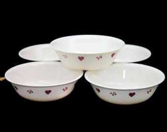 Set of vintage Corelle Corningware Hometown coupe cereal bowls made in the USA. Red hearts. Choose set size below.