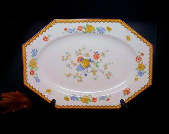 Antique art-nouveau | art deco Myott 2113 multi-sided vegetable platter made in England. Chinoiserie florals, art deco border, red trim.