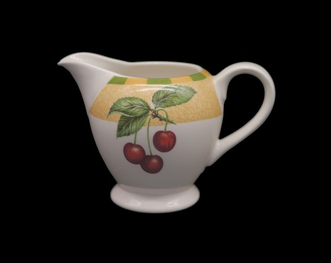 Vintage Churchill China Somerset creamer or milk jug made in England. Green yellow checks, red cherries. Flaw (see below).