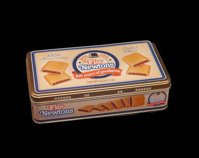 Vintage (1991) Fig Newton's 100th Anniversary tin with removable lid.