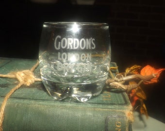 Vintage (1980s) Gordon's London Dry Gin single shot glass.  Etched-glass artwork, weighted base.  Commercial quality glassware.