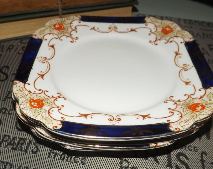 Vintage (1930s) Royal Standard Imari 4054 square dessert | salad plate. Hand-painted cobalt, gold swags and edge. Sold individually.