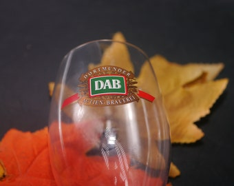 Vintage DAB   Dortmunder Actien Brauerei stemmed pilsner glass with etched-glass logo. Made in Germany. Commercial quality.