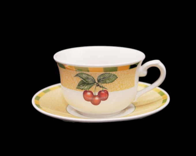 Vintage Churchill China Somerset cup and saucer set made in England. Green yellow checks, red cherries. Sets sold individually.