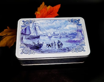 Vintage (1990s) Hellema Spiced Cookies blue-and-white Delft-inspired tin with Sailing theme. Great kitchen decor, storage.  Made in Holland