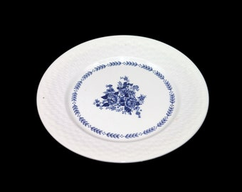 Vintage Mayfair Royal Florence blue-and-white chop plate | service plate | round platter made in Japan. Flaw (see below).