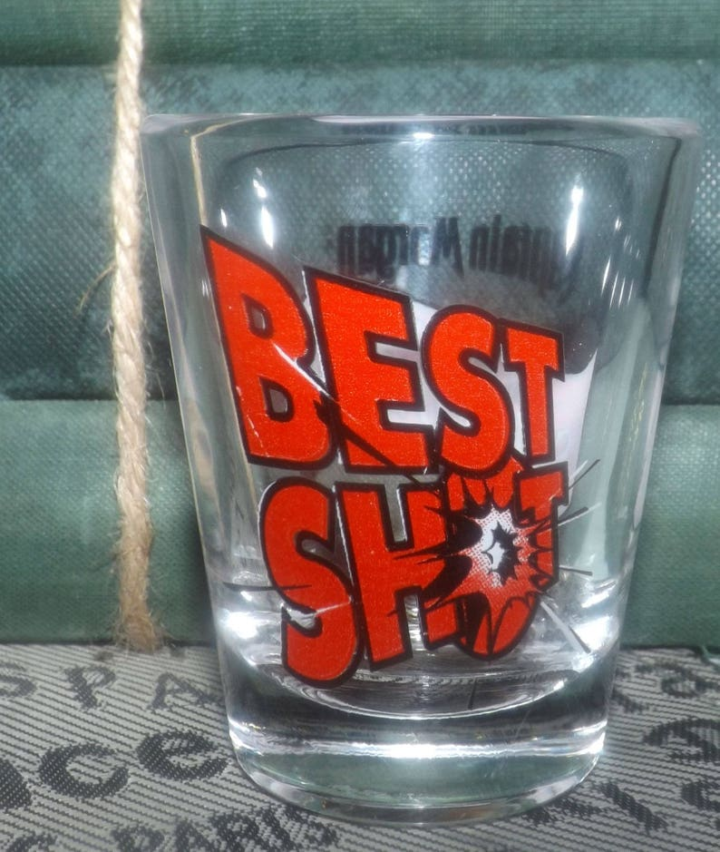 Etched-glass branding and artwork. Captain Morgan Best Shot Spiced Rum single shot glass Vintage early to mid 1990s