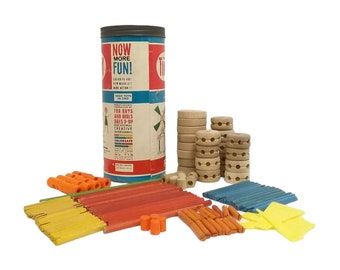 Vintage (1980s) Classic Tinkertoy Wooden Construction Set No 116. Made in Canada. No instructions.