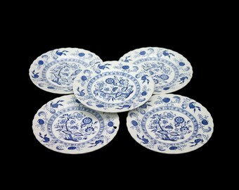 Set of five vintage (1960s) Johnson Brothers Nordic blue-and-white bread, dessert, side plates made in England. Classic Blue Onion.