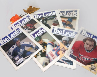 Set of five vintage (1980s) The Leafs magazines and two covers. Official Magazine of Toronto Maple Leafs Hockey Team. Great vintage ads.