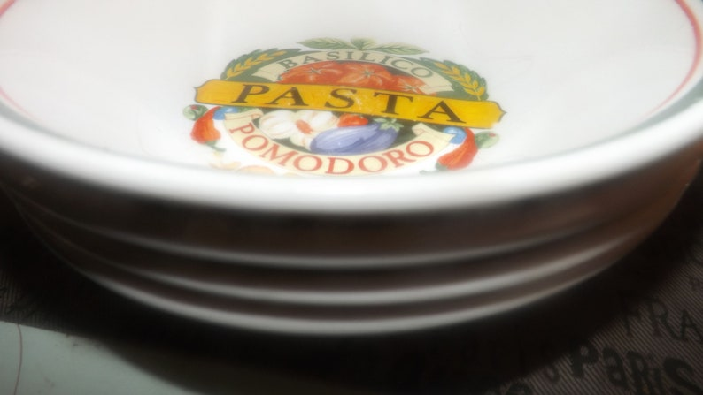 early 1990s Vintage Red green bands central pasta imagery. Siena Pasta Basilico Pomodorro individual pasta bowl made by Himark in China