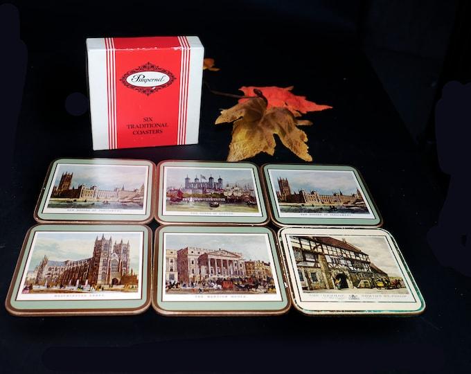 Vintage Pimpernel 19th Century London set of six coasters with original box. British Heritage Series.