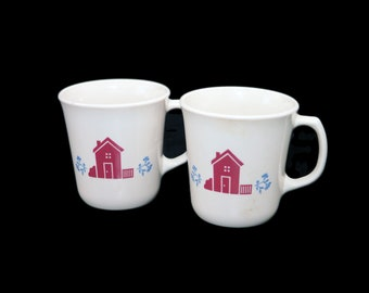 Vintage Corelle Corningware Hometown coffee or tea mug made in the USA. Red hearts, red houses. Choose quantity  below.