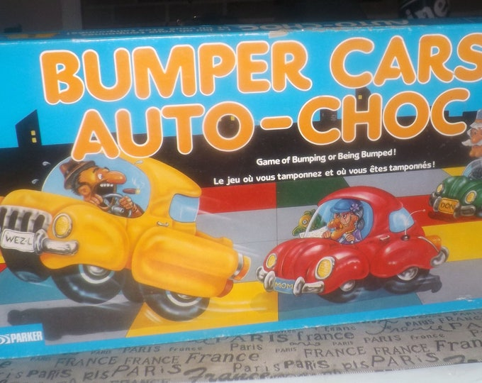 Vintage (1987) Bumper Cars board game published in Canada by Parker Brothers.  Bilingual (Eng   French) wording and instructions. Complete.