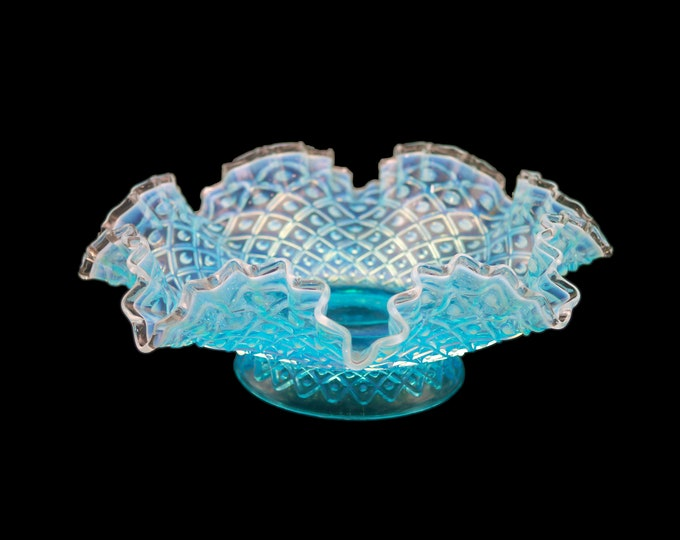 Vintage (1960s) Blue Chalet Glass Hobnail bowl with ruffled edge.