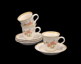 Set of three vintage (1980s) Mikasa Silk Bouquet EC463 cup and saucer sets with bonus. Garden Club stoneware made in Japan.