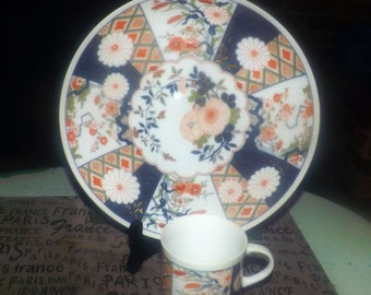 Vintage (1980s) Shafford Japan | JSC Mikado snack set. Flat cup with matching plate. Imari colors, Chinoiserie.