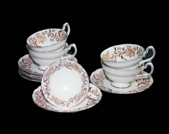 Mid century Grosvenor Bone China Rhapsody cup and saucer set made in England. Sets sold individually.