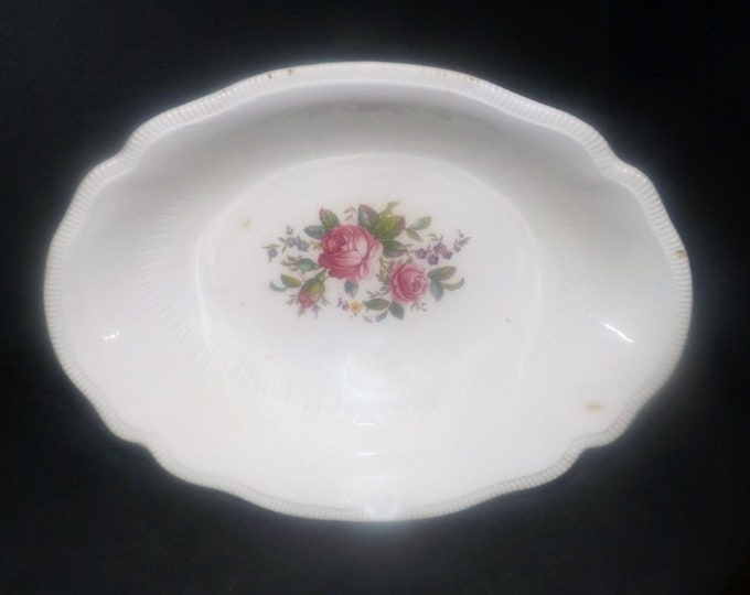 Antique (1910s) Johnson Brothers JB339 oval vegetable serving bowl. Pink roses. Made in England.