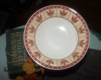 Set of 4 + bonus vintage (1997) Johnson Brothers Papyrus cereal, soup or salad bowls.  Tan, pink colored leaves, triangles, blue dots.