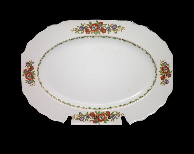 Art deco (1930s) Myott Son & Co pattern 2614 oval meat serving platter made in England. Red blue florals, green inner band, black trim.