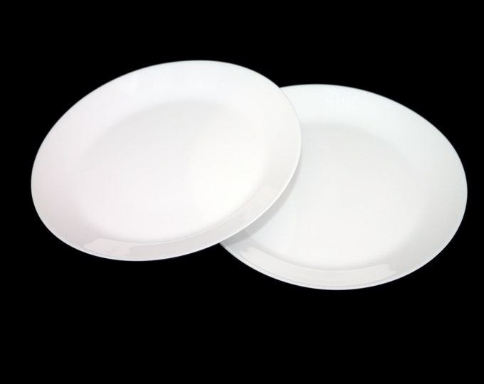 Pair of vintage (1980s) Corelle Misty White small dinner or luncheon plates. All-white vintage Corningware made in the USA.