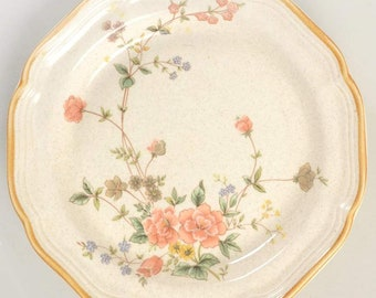 Vintage (1970s) Mikasa Silk Bouquet EC463 salad   side plate. Garden Club stoneware made in Japan. Sold individually.