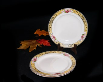 Set of three antique (1910s) Grindley Granville art-nouveau salad or side plates made in England. Flaw (see below).