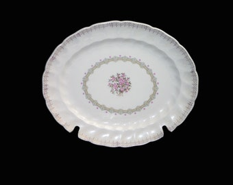 Vintage (1960s) Sovereign Potters Fidelity oval vegetable serving platter. Pink flowers, fleur de lys. English ironstone decorated in Canada